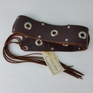 NWT Boho Tie Grommet Fringe Brown Leather Belt Z47